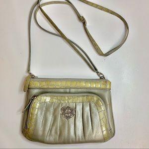 Brighton Crossbody Purse Wallet Patent Leather Emb